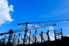 Chantier de construction silhouetté photo stock