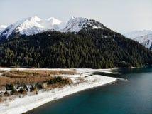 Chantier naval congelé de l'Alaska photographie stock