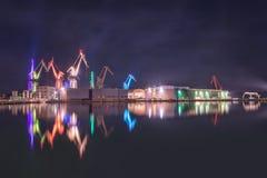 Chantier naval la nuit Image stock