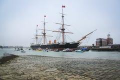 Chantiers de construction de navires navals de Portsmouth de guerrier de Hms Image stock