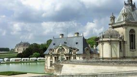 Chantilly castle beautiful park eith sculptures stock video