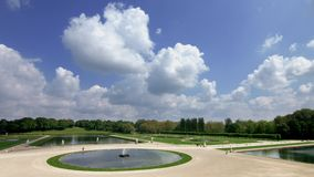 Chantilly castle beautiful park eith sculptures stock video footage