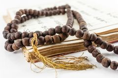 Chanting Beads. Beads used by Buddhists during chanting and prayer sessions. The beads are also used as aid to concentration stock photos