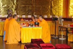 Chanting Buddhist Monks Royalty Free Stock Photography