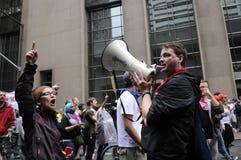 Chanting slogans. Royalty Free Stock Images