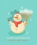Chanuka di Chanukah e Natale, pupazzo di neve che celebra la nuova stagione Immagini Stock Libere da Diritti