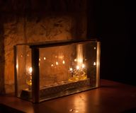 Chanuka lights in Jerusalem Royalty Free Stock Photography