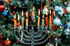 Chanukah犹太教灯台Chanukiah犹太假日背景 库存照片