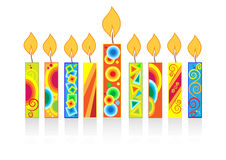 Chanukah background with candles Stock Photos