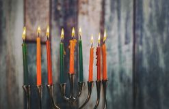 Chanukah candles all in symbol jewish holiday. Chanukah candles all in a jewish symbol holiday stock photography