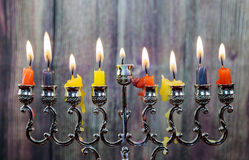 Chanukah candles all in a row. Bright, shiny the Jewish holiday. Stock Image