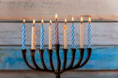 Chanukah candles all in symbol jewish holiday. Chanukah candles all in a jewish symbol holiday royalty free stock photography