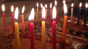 Chanukah candles. Shot of Chanukah candles lightning stock footage