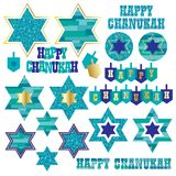 Chanukah clipart. Chanukah icons clipart with gold royalty free illustration