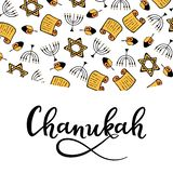 Chanukah Design in doodle style. Traditional attributes of the menorah, Torah, star of David, dreidel. hand lettering. Chanukah Design Elements in doodle style royalty free illustration