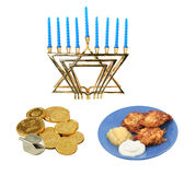 Chanukah Design Elements. Design elements for Chanunkah - menorah, latkes, and a dreidel with chocolate gelt. All isolated on white background. (symbols on the