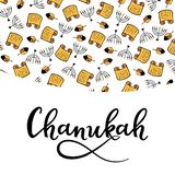 Chanukah Design Elements in doodle style. Traditional attributes of the menorah, Torah, dreidel. hand lettering.  royalty free illustration