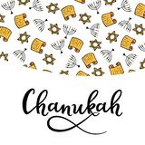 Chanukah Design Elements in doodle style. Traditional attributes of the menorah, Torah, star of David. hand lettering.  stock illustration