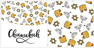 Chanukah in doodle style. Traditional attributes of the menorah, Torah, star of David. Seamless pattern, hand lettering. Chanukah Design Elements in doodle style royalty free illustration
