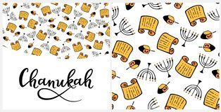 Chanukah in doodle style. Traditional attributes of the menorah, Torah, dreidel. Seamless pattern, hand lettering. Chanukah Design Elements in doodle style royalty free illustration