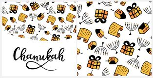 Chanukah in doodle style. Traditional attributes of the menorah, Torah, gift, dreidel. Seamless pattern, hand lettering. Chanukah Design Elements in doodle style royalty free illustration