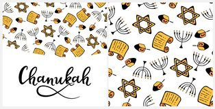 Chanukah in doodle style. Traditional of the menorah, Torah, star of David, dreidel. Seamless pattern, hand lettering. Chanukah Design Elements in doodle style stock illustration