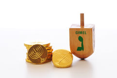 Chanukah Dreidel e Gelt Fotografia de Stock Royalty Free