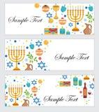 Chanukah felice, insegne messe Festival delle luci ebreo, festività di Chanukah di dedica Insegne stabilite di Chanukah con spazi