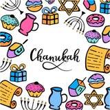 Chanukah frame in doodle style. menorah, dreidel, oil, Torah, donut. hand lettering. Chanukah frame in doodle style. Traditional attributes of the menorah stock illustration