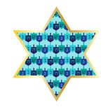 Chanukah gold star with dreidel pattern. Vector graphic Royalty Free Stock Photography