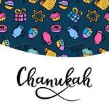 Chanukah greeting card in doodle style. menorah, dreidel, oil, Torah, donut. hand lettering. Chanukah greeting card in doodle style. Traditional attributes of stock illustration