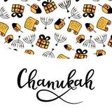 Chanukah greeting card in doodle style. attributes of the menorah, dreidel, Torah, gift. Hand lettering. Chanukah greeting card in doodle style. Traditional vector illustration