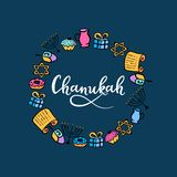 Chanukah hand lettering. Jewish festival of lights. Feast of Dedication. Menorah, dreidel, candles, Torah, donuts. Chanukah hand lettering. Jewish festival of vector illustration