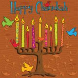 Chanukah Menorah. Tree inspired Menorah with bright candles and colorful birds vector illustration
