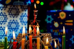 Chanukah Menorah Chanukiah Jewish holiday background. Channukah channukiah menorah candles. Jewish holiday background, hanukkah, religion, judaism, celebration royalty free stock images