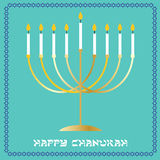 Chanukah menorah. Gold chanukah menorah with border pattern stock illustration