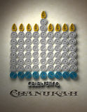 Chanukah Menorah. A Chanukah Menorah made of spun paper with a holiday message at bottom vector illustration
