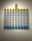 Chanukah Menorah. A Chanukah Menorah made of spun paper with space for text at bottom stock illustration