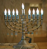 Chanukah menorah. Traditional symbol of the Jewish festival of lights stock images