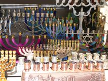 Chanukah menorahs. Collection of Chanukah menorahs in different shapes and colors for jewish holiday royalty free stock photo