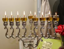 Chanukah oil lamp. Using olive oil rather than candles stock photos