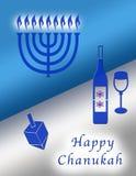 Chanukah. Symbols of menorah, wine and cup, and dreidel stock illustration