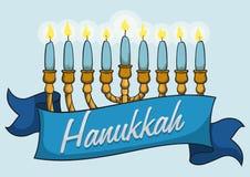 Chanukiah in Cartoon Style with Hanukkah Ribbon, Vector Illustration Royalty Free Stock Photos