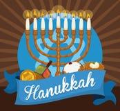 Chanukiah, Gelt, Dreidel, Sufganiyah and Latke to Celebrate Hanukkah, Vector Illustration. Commemorative elements to celebrate Hanukkah: Chanukiah with candles