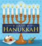 Chanukiah with Lighted Candles, Sufganiyah and Dreidel for Hanukkah Celebration, Vector Illustration Royalty Free Stock Image