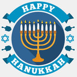 Chanukiah, Ribbons, Stars and Dreidels for Hanukkah in Flat Style, Vector Illustration Stock Images
