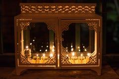 Chanukka-Kasten wird auf der 8. Nacht von Hannukah beleuchtet Lizenzfreies Stockfoto