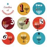 Chanukka, 8 Kerzen für Achttagefeiertag lizenzfreie abbildung