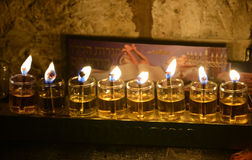 Chanukkah candles. Close up view of Chanukkah candles in Jerusalem Old City royalty free stock photography