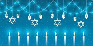 Chanukkahbakgrund med traditionella beståndsdelar av den judiska ferien av Chanukkah vektor illustrationer